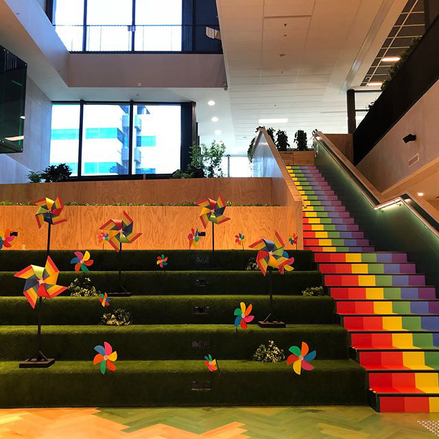 Google Rainbow Staircase & Pinwheels
