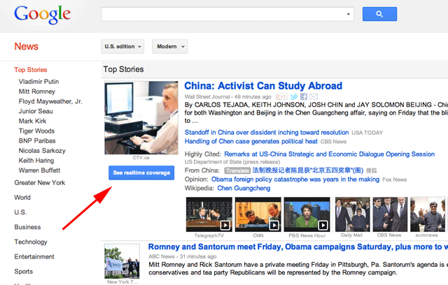 Google News Realtime Coverage