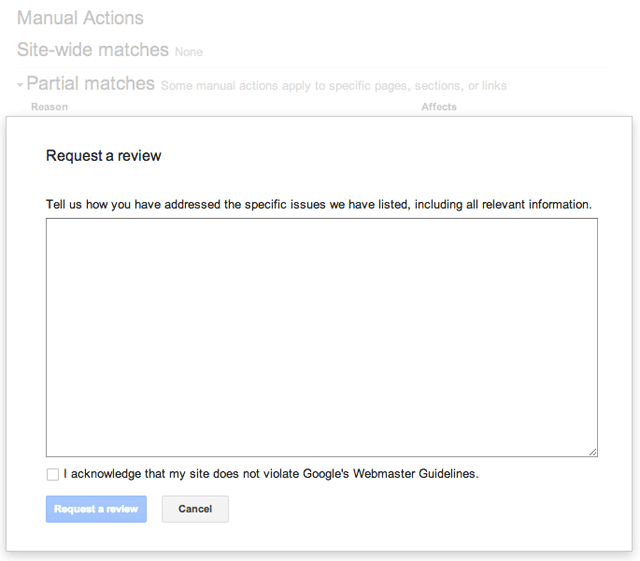 Request Review In Google Manual Actions