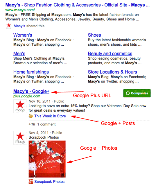 Google+ Brand Pages SERPs