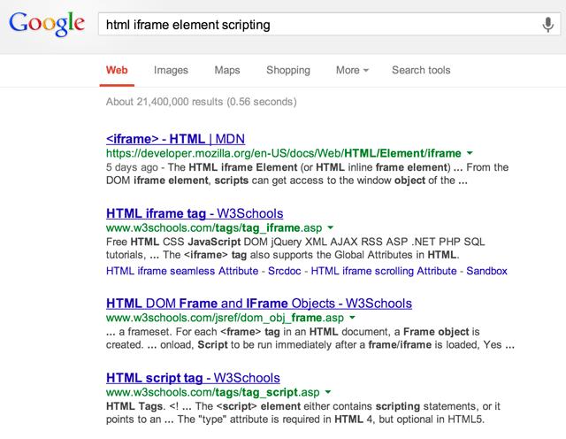 Google MDN w3schools bug