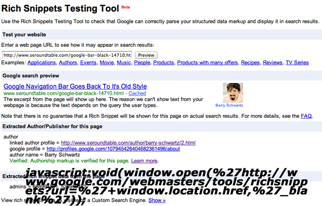 Google Rich Snippets Bookmarklet Tool