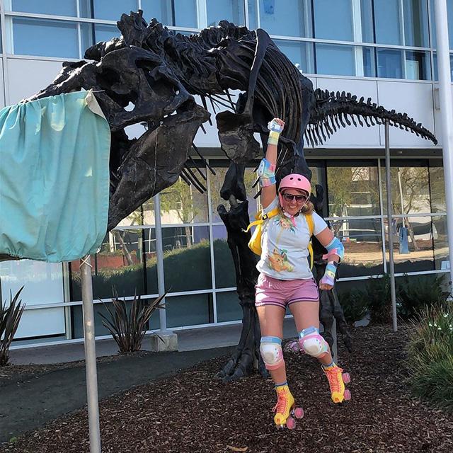 Roller Skating At Google Near Stan The Dinosaur