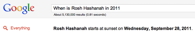 Google Rosh Hashanah Answer