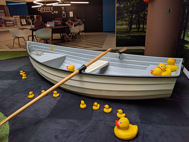 Indoor Google Row Boat With Rubber Ducks