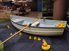 Indoor Google Row Boat With Rubber Ducks