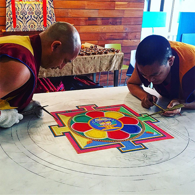 Buddhists Create Sand Mandala At Google Office