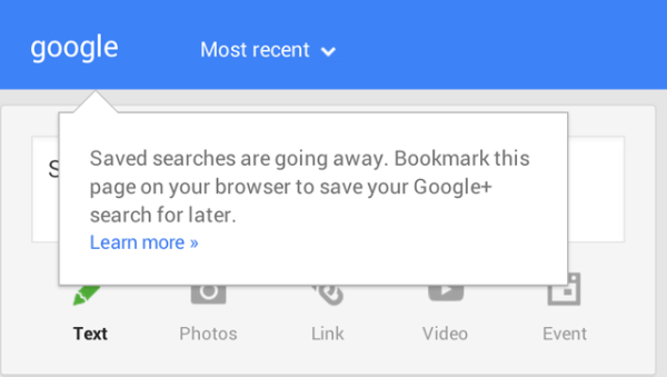 Google+ Saved Searches Going Away