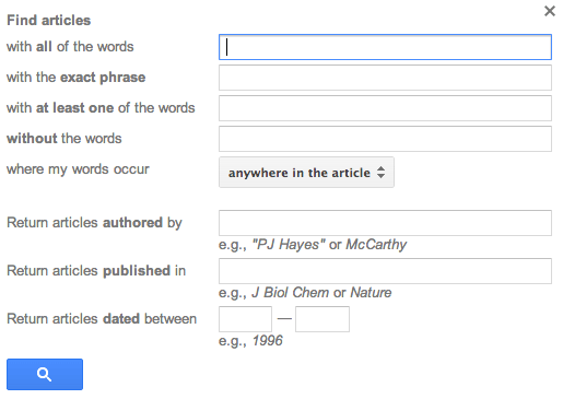 Google Scholar New Advanced Search