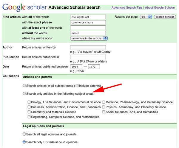 Google Scholar Old Advanced Search