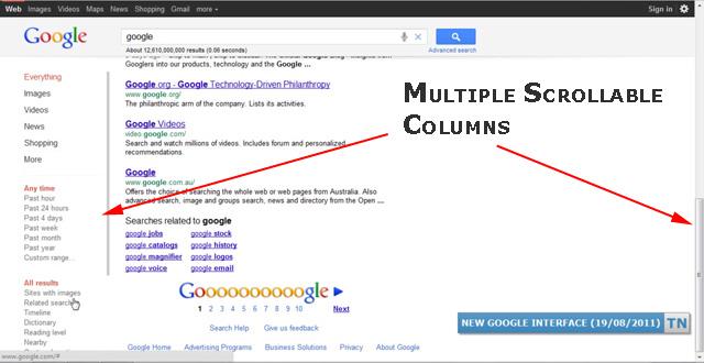 Google Scrolling Frames