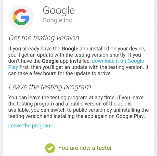 Google Search App Beta Channel