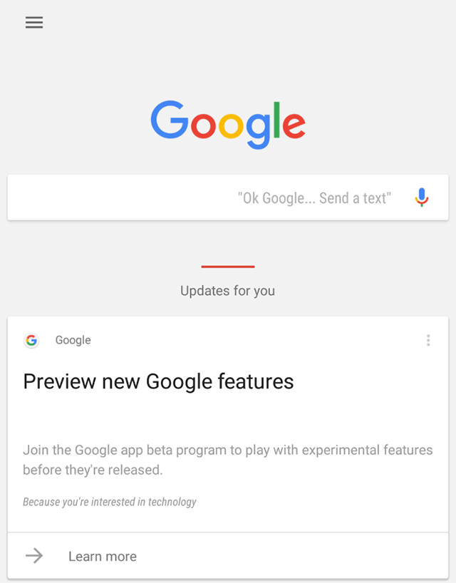 Google Search App Beta Google Now Card