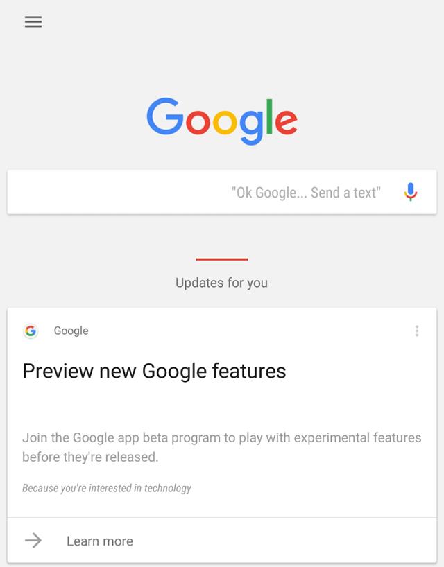 Google Search App Beta Google Now Card
