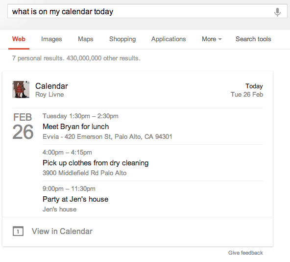Google Calendar Events In Google Search Results