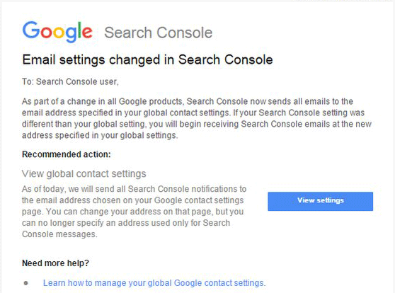 Google Search Console Email Settings Changed Notification
