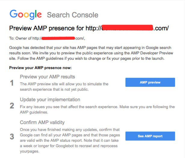 Google Search Console: Preview AMP Presence Message