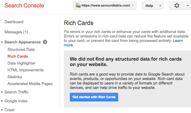 Google Search Console Rich Cards Section