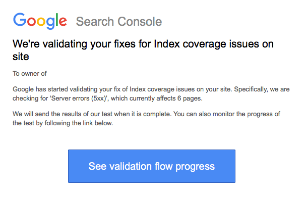 Google search console issues validating email for Google consule