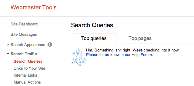 Google Webmaster Tools Search Queries Down