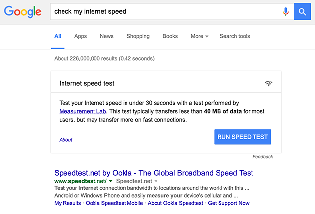 google launching speed test feature in search results