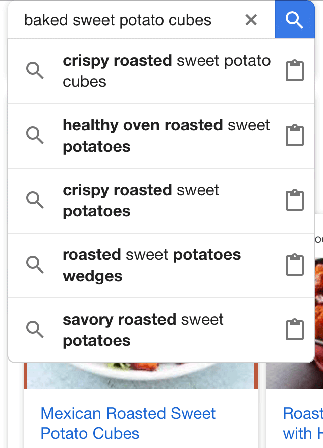Google Testing Clipboard In Search Autocomplete For Recipes