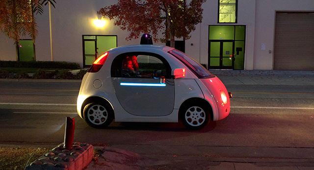 Google Self Driving Car All Lit Up