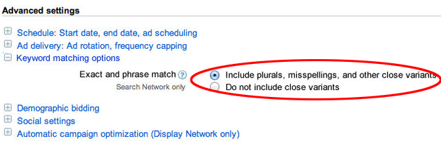 AdWords Exact Variant Options