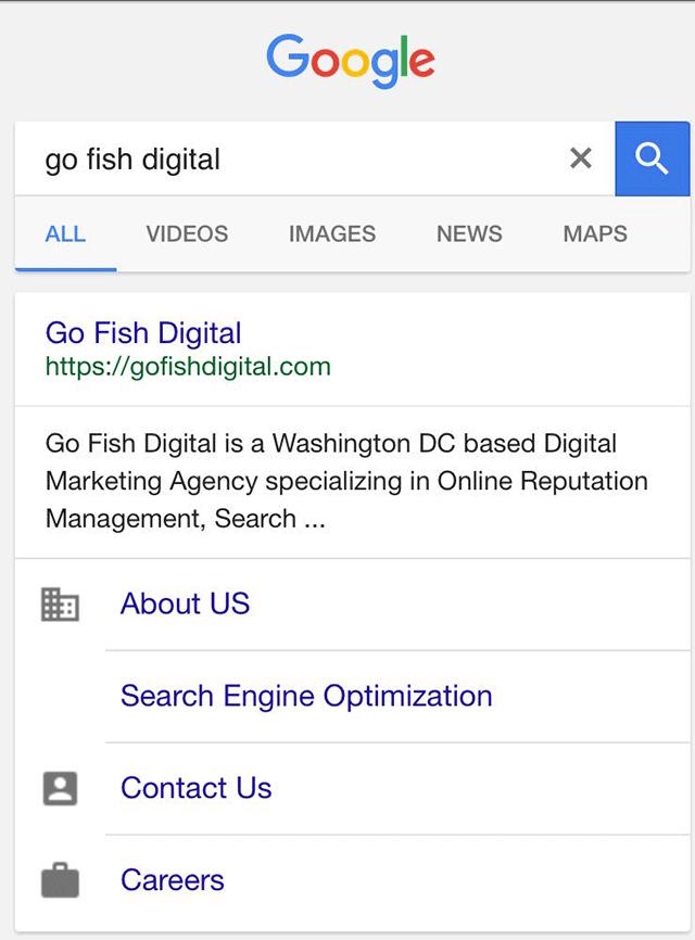 Google Sitelinks Icons