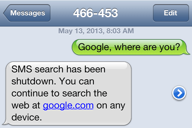 Google SMS Search Discontinued