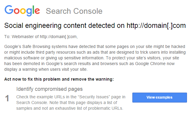 Social Engineering Content Detected Google