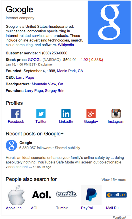Google Adds Social Profile Links For Brands