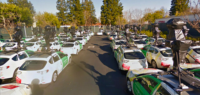 Many Google Street View Cars