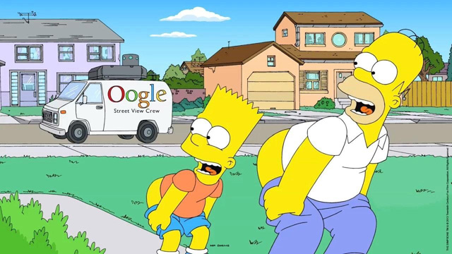 The Simpsons Moons Google Street View Car