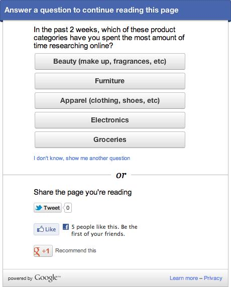 Google Survey Box