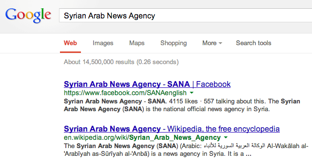 The Syrian Arab News Agency In Google