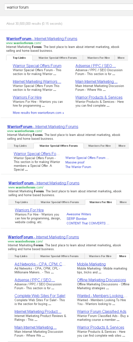 Google Tab Sitelinks