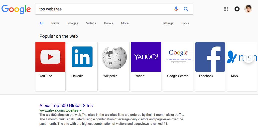 Google Lists Top Websites In Carousel
