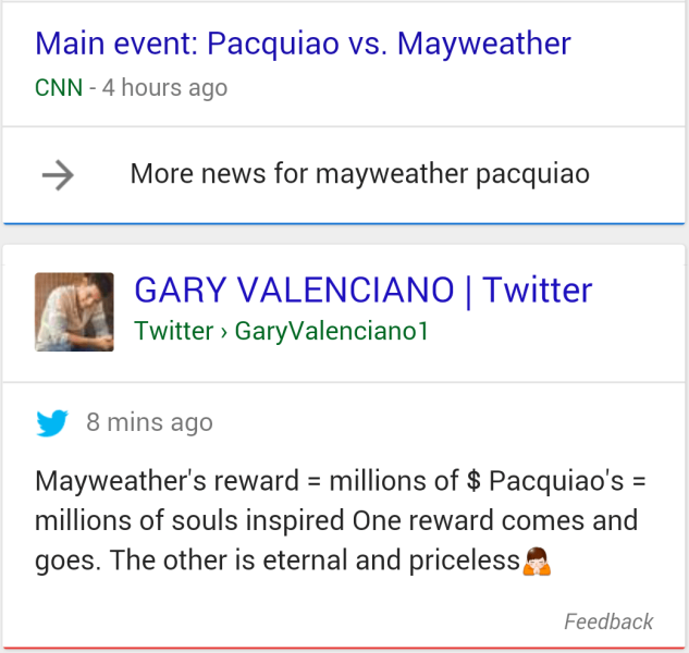 Google Showing Twitter