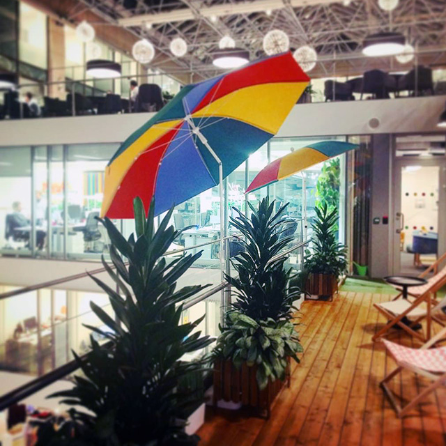 Google Has Open Umbrellas Inside