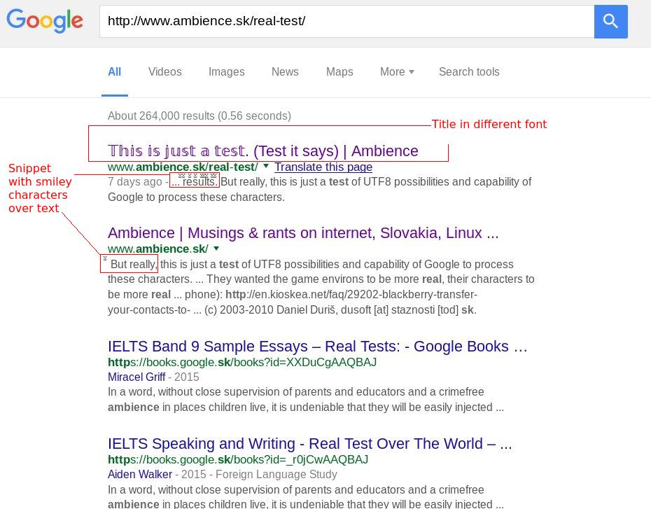 seos experimenting utf characters in title tags google click for full size