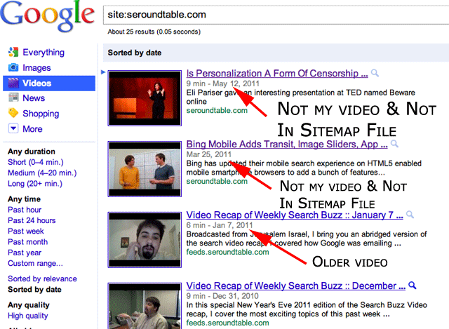 Google Video Site Command