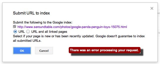 Google Fetch As GoogleBot Submission Error
