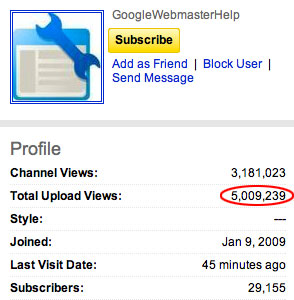 Google Webmaster Help YouTube Channel Surpasses 5 Million Views