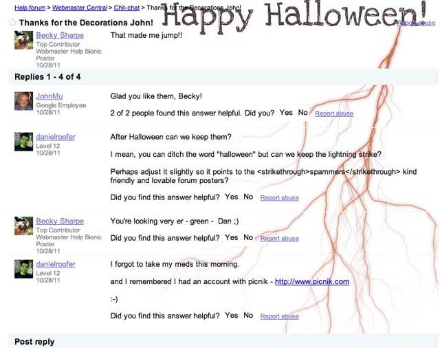Google Webmaster Help Forum Halloween