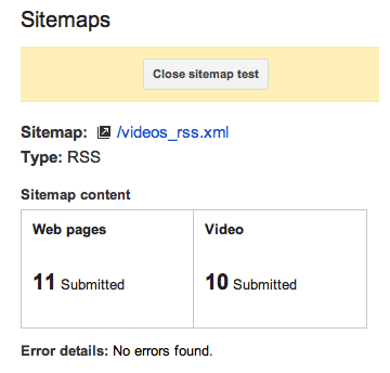 GMT test results sitemap