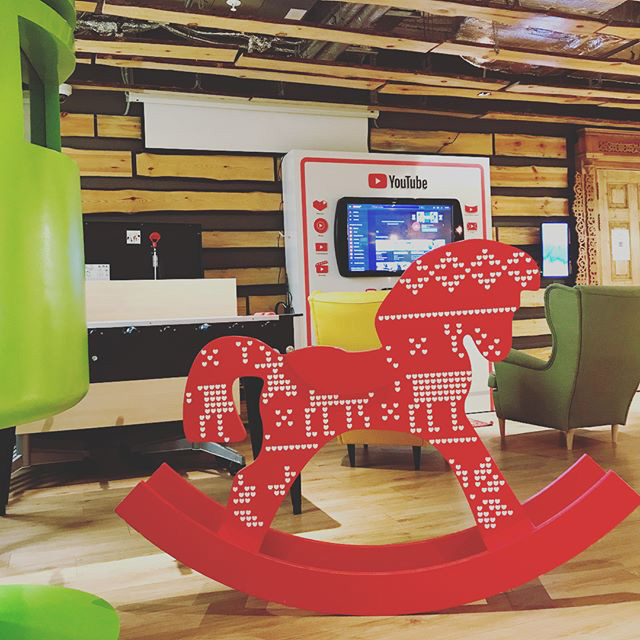 Google Moscow Wooden Rocking Horse