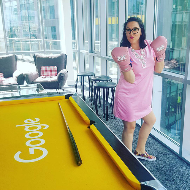 Google Yellow Pool Table & Pink Boxing Gloves