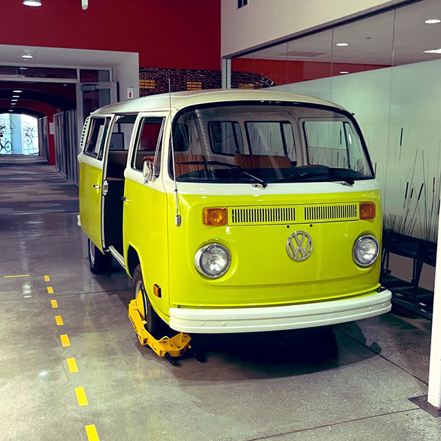 Google Yellow Volkswagen Bus With A Boot