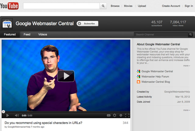 Google Webmaster YouTube Channel On March 28, 2012